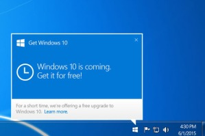 The Get Windows 10 notification